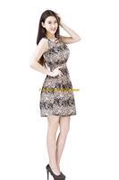Women Lady Chiffon Summer Sleeveless Black Floral Tunic Mini Short Waist Beach Dress Sundress FAS17