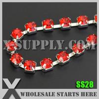 Free Shipping SS28 Single Row Rhinestone Chain, Bridal Accessories, Lt.Siam Rhinestone in Silver Base, X11228