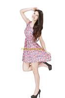 Girl Lady Chiffon Summer Sleeveless Red Floral Tunic Mini Short Waist Beach Dress Sundress FAS18