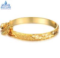 Grace Jewelry COPPER Alloy 18K Gold Plated wealthy Bangles Lucky Bell women men Bracelets WEDDING Acessories GB314
