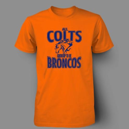 Orange Broncos t Shirt Men's t Shirt Colts Broncos
