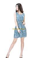 Girl Lady Chiffon Summer Sleeveless Blue Floral Tunic Mini Short Waist Beach Dress Sundress FAS9