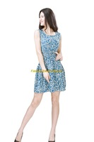 Girl Lady Chiffon Summer Sleeveless Blue Floral Tunic Mini Short Waist Beach Dress Sundress FAS9