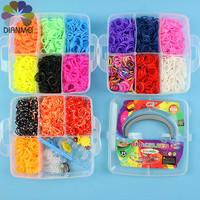 2014 Hot Sale 1pcs New Fashion Small 3 Layers 4200pcs Rubber Bands Loom Bands DIY Bracelets Making Kit Box