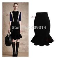 Women Clothing 2014 New Autumn Winter UK 6XL Large Plus Size Brand Vintage High Waist Black Ruffles Mermaid Midi Pleated Skirts