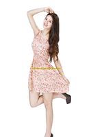 Girl Lady Chiffon Summer Sleeveless Red Floral Tunic Mini Short Waist Beach Dress Sundress FAS16