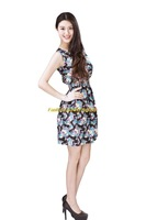 Girl Lady Chiffon Summer Sleeveless Black Floral Pattern Tunic Mini Short Waist Beach Dress Sundress FAS21