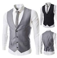 Plus Size Drop Shipping 2014 Brand New Gentle Men Vest Men's Formal Suit V-necked Vests Slim Fit Fashion Male Suits M-XL AX276