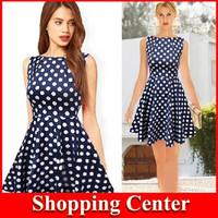 Freeshipping 2014 new women dress fashion dot sleeveless dresses pleating Wave point dress lady street dress dropshipping