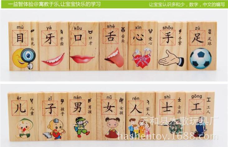 High Quality Enlightenment Teaching Blocks 100pcs Chinese Characters Dominos Card Educational Toy Mental Development Wood Toy(China (Mainland))