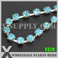 Free Shipping Single Row 6mm SS28 Strass Rhinestone Cup Chain, Jewelry Accessories, Aquamarine Rhinestone in Silver Base, X11228