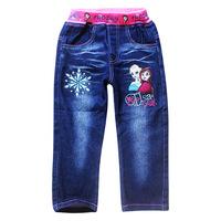 High Quality Children Frozen Jeans Children Girls Long Pants Frozen Elsa Embroideried Girl's Jeans Spring/Autumn Kids Pants 6pcs