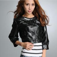 New Women leather jacket pockets PU single breasted long-sleeve coat leather motorcycle jacket for women black size M LXX497