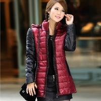 New 2014 Casual Fashion Pacthwork Color Warm Winter Jacekets for Women Long Sleeve Ladies Quilted Coat Drop Ship 1150