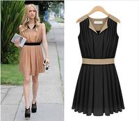 2014 EUR usa Hot sales Suit-type V-neck vest waist chiffon dress Casual dress Summer Women's Chiffon Pinched Waist Women Clothes