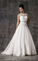 Hot Sell ! A-line Cap Sleeve Organza Designer Gorgeous Wedding Gown ,Wedding Wear 2014 with Beaded Sppliques Adorn the Bodice