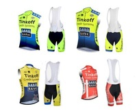 Vest  Saxo Bank Tinkoff 2014  Men's Cycling Jersey Sleeveless Bib Shorts Kits Cycling Clothing Ropaciclismo Fitness Clothes