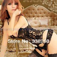 2014 Lace Sexy Lingerie hot sexy Underwear costumes Sleepwear erotic lingerie clothing set kimono Garter Belt G-string Stockings