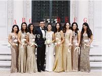 New Style Dazzling Custom Made Long Sheath vestido de festa Sleeveless Formal Sequin Bridesmaid Dresses 2014