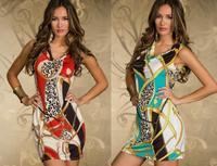Free shipping 20pcs/lot 2014 New Hot Women's Sexy  dress party ,women print 2colors,   mini sexy club dress  SE41