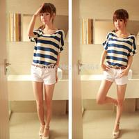 fashion women zara2014 Chiffon Batwing Sleeves Stripes Shirt Loose Tops Blouse T-Shirts 4 Colors women clothing