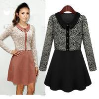 Hot Sale Women's Black/Pink Long-sleeve Slim waist Peter Pan Collar Lace patchwork one-piece Autumn dress for 2014Autumn&Winter