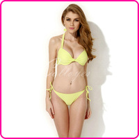 Colloyes 2014 New Sexy Greenish Yellow Add-2-Cups Halter Top Bikini Swimsuit Swimwear Set with Push-up Molded Cups