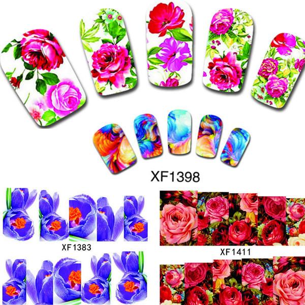 10PCS Flower Water Transfer Nail Art Stickers Beauty Nail Wraps DIY Charm Decals Temporary Tattoos Nail Tools XF1372-1421(China (Mainland))