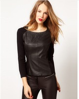 Womens designer long sleeve hoodies with woolen leather and knitting patchwork for wholesale and freeshipping