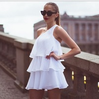 Free Shipping women's new multi layer cake layer ruffles one shoulder spaghetti strap chiffon ball gown dress party summer dress