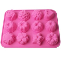 12 Cavity Flowers Silicone Non Stick Cake Bread Mold Chocolate Jelly Candy Baking Mould