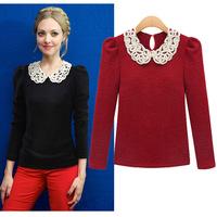 Ladies' Fashion Cotton Black/Red S-XL T-Shirt Women's Long-sleeved T-shirts  Elegant Work Wear Office Tops 2014Autumn/Winter
