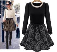Designer Women Fashion Long Sleeve Knee-Length Winter Dress Ladies Vintage Print Casual Dresses Plus Size XXL New 2014Autumn