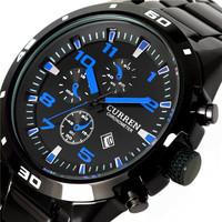 Free shipping CURREN watch genuine male blue stainless steel bracelet watch quartz watch fashion watch business men