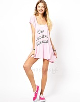 2014 haoduoyi I'm Really A Mermaid letters printed fish tail short sleeves pink t-shirt for wholesale and free shipping