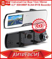 "Universal Rear View Mirror 4.3"" Inch HD1080P Car Camera H.264 DVR Video Recorder G-sensor/ Cycle recording/Motion detection"