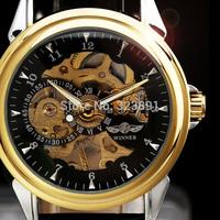 2014 new fashion winner skeleton men women mechanical hand wind leather strap classic casual wrist watch