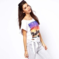 Womens o-neck cotton t-shirt with sunset and beach printed with bow decoration in waist for wholesale and freeshipping