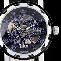 new fashion 2014 SWOR hot sale blue face skeleton mechanical hand wind leather strap men male wrist watch