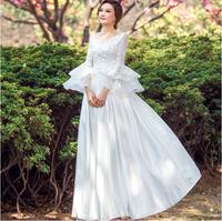 Fashion New Sexy V-Neck speaker long-sleeve bride Lace Wedding dress 2014 White Slim vestidos Bridal Gown vestido de noiva  W27