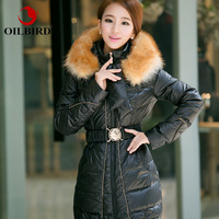 Free shipping 2014 new winter jacket women luxury large fox fur collar medium-long thick female duck down coat size S-XXL DC24