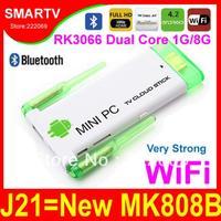 J21 Bluetooth Updated MK808B Dual Core 1.6G Dual External Wifi Antenna mini pc pcs RK3066 Androind  Smart TV Stick box 1G 8G