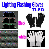 Free EMS DHL 100pcs/ 50 pairs LED Gloves Flashing Gloves Glow LED Light Up Rave Glove Glow Light Glow Finger Gloves party props