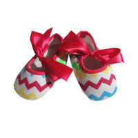 Momo - Wholesale 12pcs/lot Bbay New 2014 cotton chevron baby first walkers, soft baby shoes, free shipping