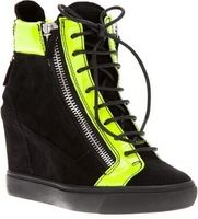Free shipping 2014 New black suede high top  lace up GZ women wedge sneakers fashion women shoes