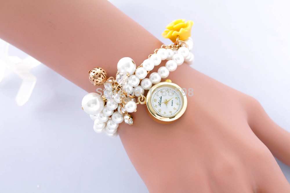 Watch With Pearl Bracelet Band Watch Imitation Pearl Band