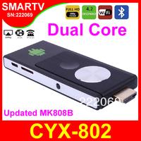 CYX-802 2014 New Android TV Box Dual Core RK3028A Mini PCs Smart TV Sticks Media Player Miracast Bluetooth XBMC MK808 Chromecast
