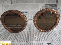 Top quality luxury designer brand  vintage Round sunglasses Glitter smu 13N/13NS With original Pink Box