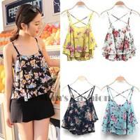 2014 Summer Hot Sale Women Sleeveless Top Spaghetti Strap Flower Floral Print Chiffon Top Blouse 4 colors B2 SV003758 3A