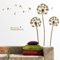 2014 New 50 * 70cm DIY Dandelion Wall Art Decal Sticker Mural PVC Home Decor Gift Free shipping &wholesale